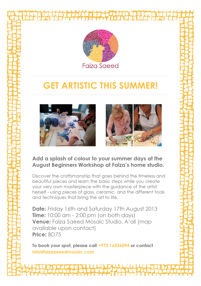 Faiza Saeed-August Beginners workshop
